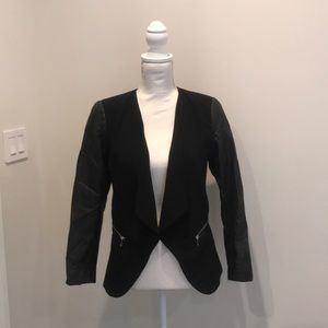 Black blazer leather sleeves